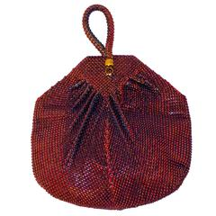 30s Red Whiting and Davis Mesh Purse