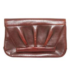 Unique 40s pleated brown leather clutch