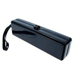 Chanel Clutch Box - Wristlet Blue & Black Leather CC Minaudie Bag Handbag Case