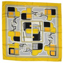 """Hermes Black, White and Yellow """"Les Coupes"""" 90cm Scarf"""