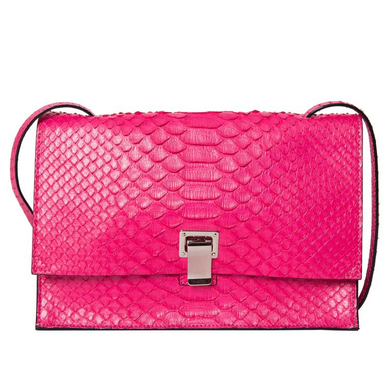 Proenza Schouler Hot Pink Python Shoulder Bag with Palladium Hardware