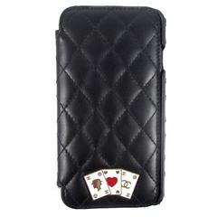 Chanel 2016 Casino iPhone 6 6S 7 Case Black Leather Quilted CC Logo Crystal Card