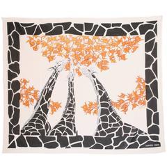 Hermes Oversize Cotton Giraffe Print Scarf Pareo