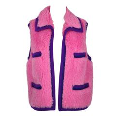 Chanel 94A Hot Pink 4 Pockets  Cashmere Trimmed Alpaga/Cotton Vest FR36