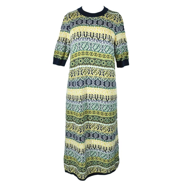 Chanel 2016 Pre Fall Multi-color Cashmere Knit Dress FR38 New For Sale