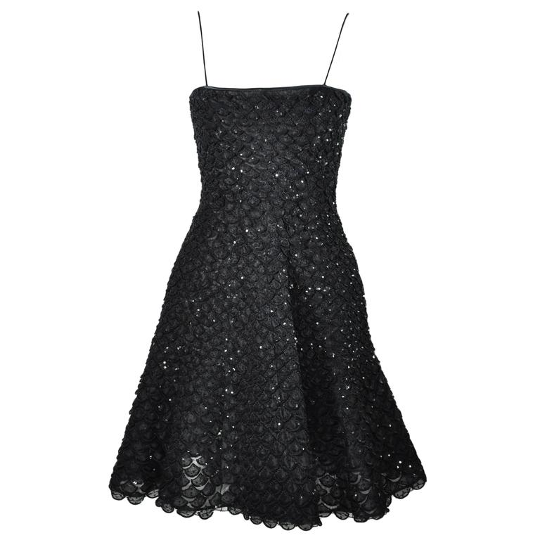 Giorgio Armani Fit & Flare Sequin Appliques Black Mini Evening Dress