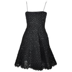 Giorgio Armani Fit & Flare Sequin Appliques Black Mini Evening Dress