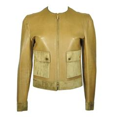 Gucci by Tom Ford 90'S Khaki Leather & Suede Jacket