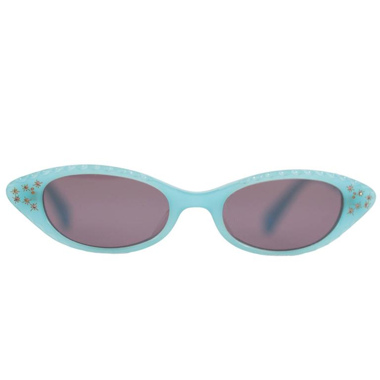 MILA SCHON Cat-Eye MINT SUNGLASSES MS 910 47/18 C2 w/ Rhinestones 1