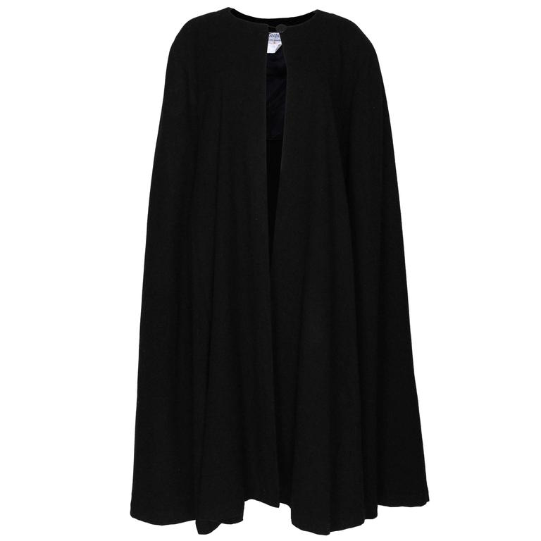 Black Wool Cape by Yves Saint Laurent Rive Gauche For Sale