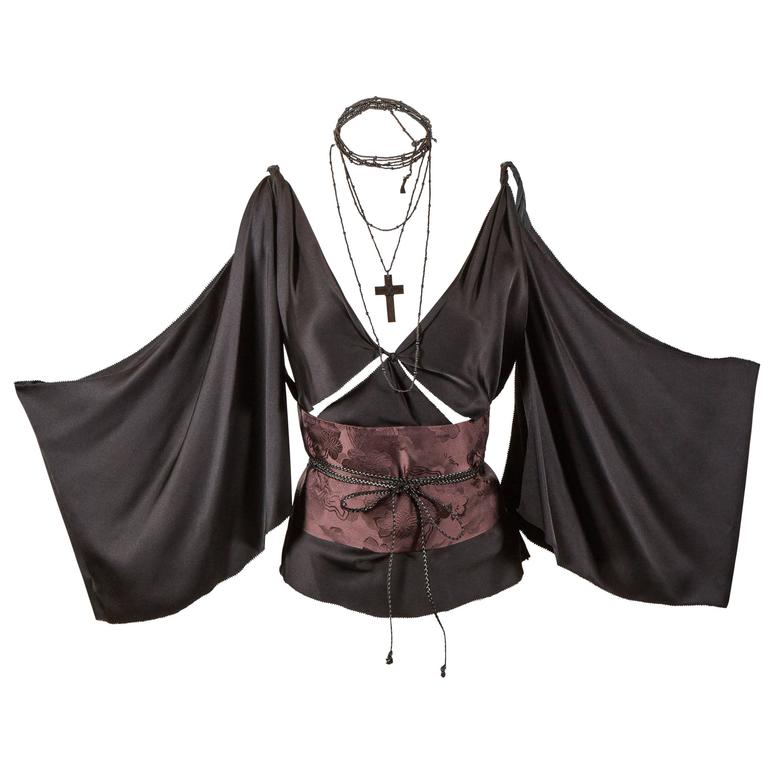 Tom Ford for Gucci Fall 2002 Black Silk Kimono Top 1