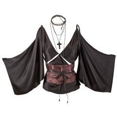 Tom Ford for Gucci Fall 2002 Black Silk Kimono Top
