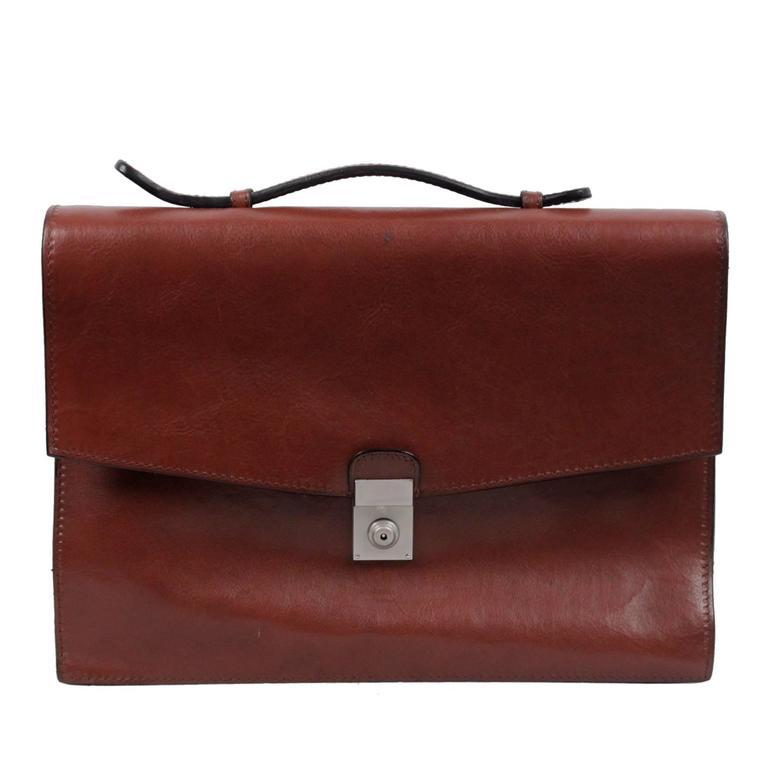 DAVIDE CENCI Brown Leather 1 GUSSET BRIEFCASE Handbag WORK Business BAG