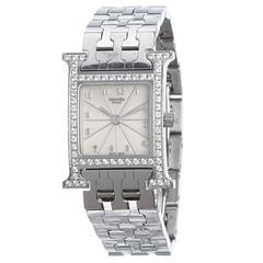 Hermes Diamond Heure H PM Silver Watch