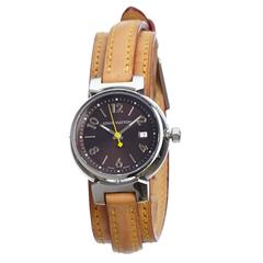 Louis Vuitton Tambour Triple Tour Brown Leather Watch