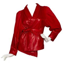 80s Bright Red Jean Claude Jitrois Leather Jacket