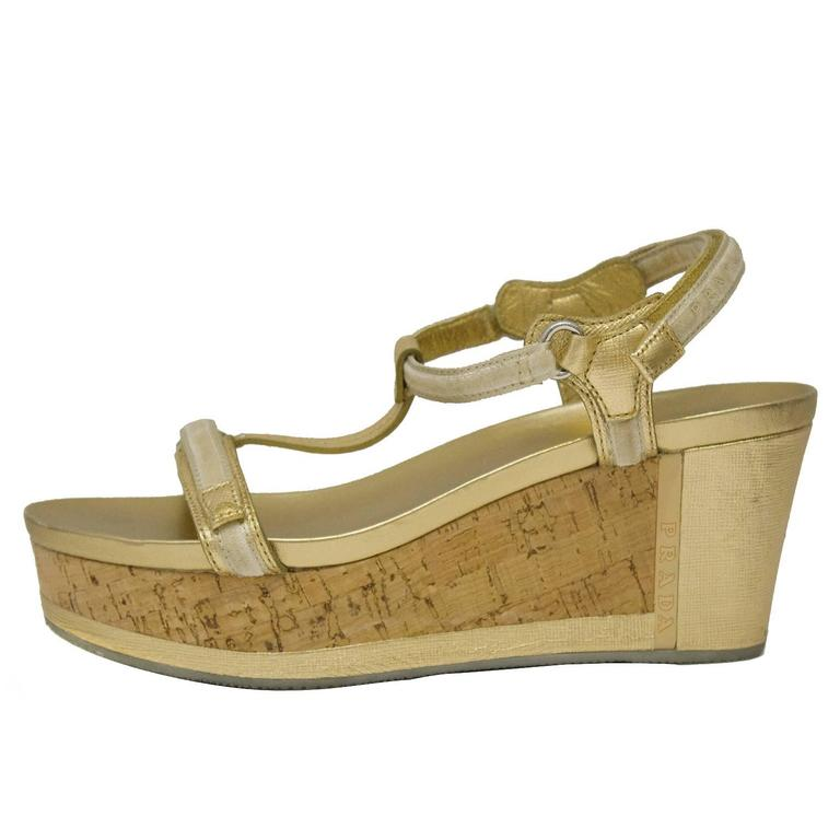 2000's Prada Sport Gold Leather Cork Sole Platform Sandals 1