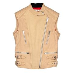 Celine Leather Jacket - US 4 6 38 - Tan Biker Motorcycle Leather Vest Coat Moto