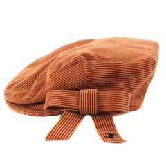 Chanel Newsboy Hat - Large - Orange Tan Velvet Corduroy Silver CC Logo Bow Cap