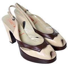 Miu Miu Vintage Chunky Heel Sling Back Peep Toe Shoes Two Toned 38.5