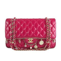 Chanel Red Lambskin Medium 2.55 Double Flap Charms Limited Edition - Rare