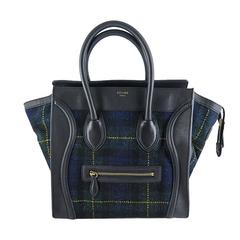 Celine Mini Black Leather & Tartan Tweed Fall Winter Luggage Tote