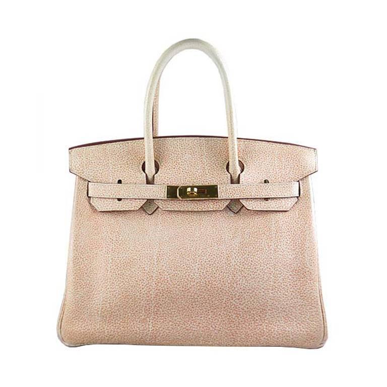 Hermes Birkin 30 Orange Dalmatian Buffalo Leather Gold Hardware Bag  For Sale