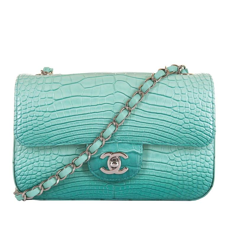 NEW MINI Chanel Turquoise Alligator 'Sac Timeless' Bag with Silver Hardware 1