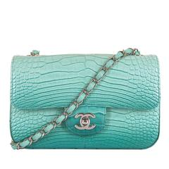 NEW MINI Chanel Turquoise Alligator 'Sac Timeless' Bag with Silver Hardware