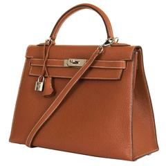 As New Pristine Hermes 32cm Kelly Sellier Bag in 'Rouille' Clemence Leather SHW