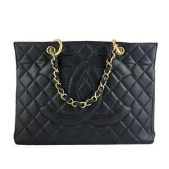 Chanel Gst Jumbo Black Caviar Vintage Grand Shopping Tote Gold Hardware