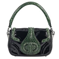 Black & Green Prada Crocodile-Trimmed Handbag