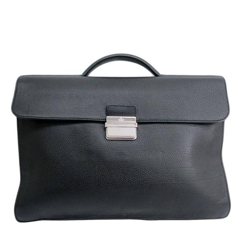 db99c89010a Gucci Black Textured Leather Silver Hardware Men s Attache Briefcase Bag  For Sale