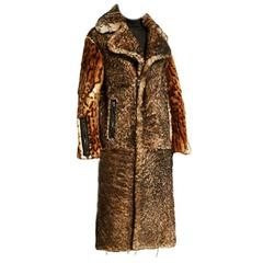 New TOM FORD TOASTED SHEARLING COAT WITH PRINTED LIPPY CAT INSERTS