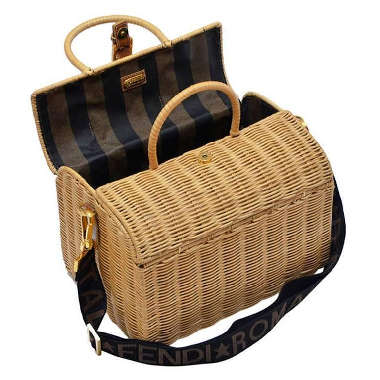 Fendi Straw Wicker Handbag With Leather Case NEW For Sale