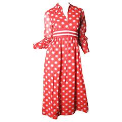 1970s Mollie Parnis Polka Dot Gown