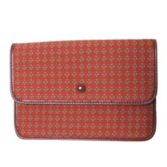 Rochas Printed Canvas Clutch with Leather Interior