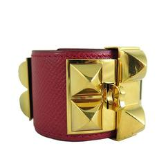 Hermes Red Cdc Collier De Chien Leather Gold Hardware Bracelet