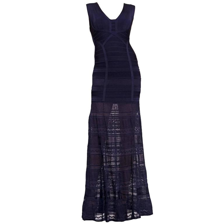 Herve Leger Midnight Blue Bandage Crochet Knit Evening Gown