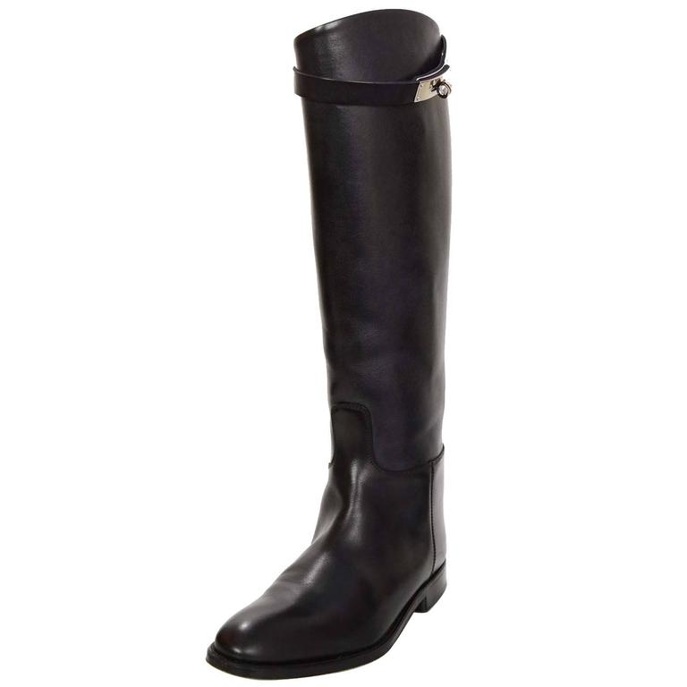 Hermes Black Leather Kelly Jumping Boots Sz 38 rt. $2,825 1