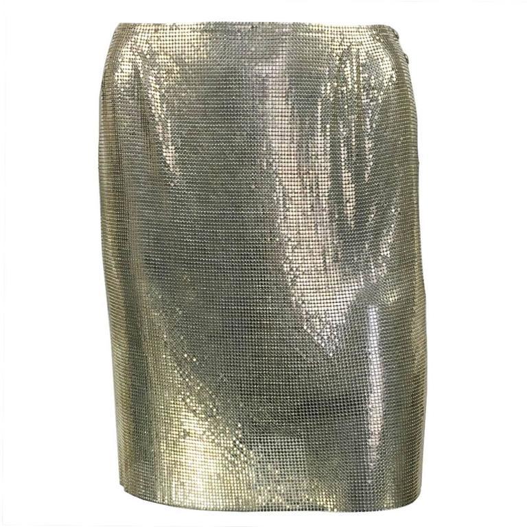 Paco Rabanne Futuristic Silver Chainmail Mini Skirt - Circa 1968