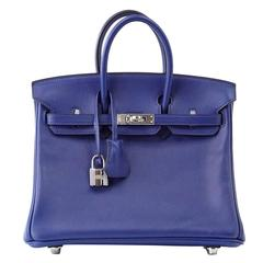 HERMES BIRKIN Bag 25 Blue Sapphire Swift Palladium a Jewel