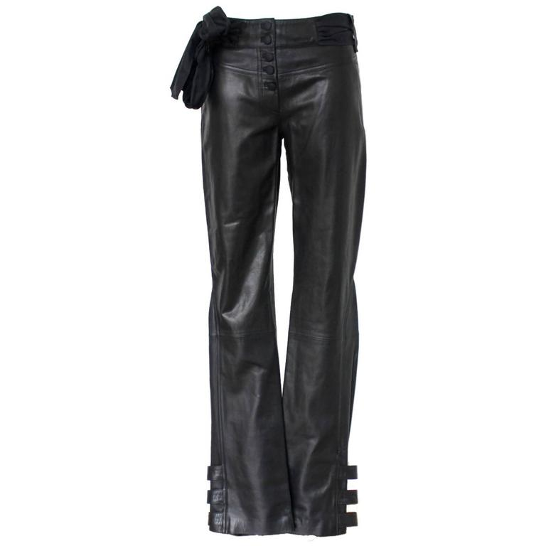 Finest John Galliano Buckle Silk Lambskin Leather Pants