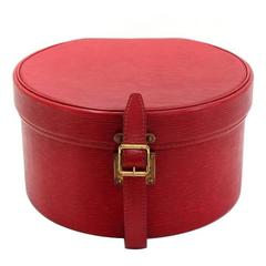 Louis Vuitton Vintage Red Epi Leather Gold HW Travel Storage Hat Box With Keys