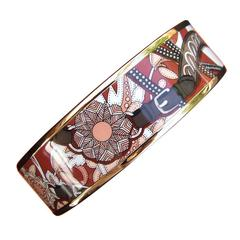 Hermes Printed Enamel Bracelet Festival des Amazones Rose Gold HDW Size 65