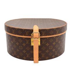 Louis Vuitton Monogram Canvas Gold HW Storage Jewelry Travel Hat Box with Keys