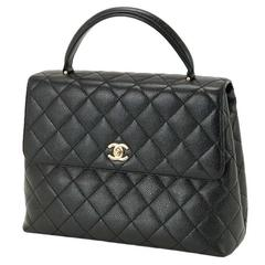 Chanel Vintage Black Caviar Leather Gold HW Kelly Style Top Handle Satchel Bag