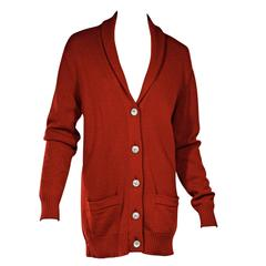 Red Chanel Cashmere Cardigan