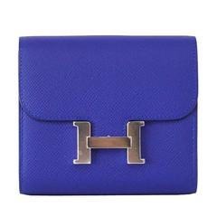 Hermes Constance Wallet Electric Blue Epsom Palladium VERY Rare