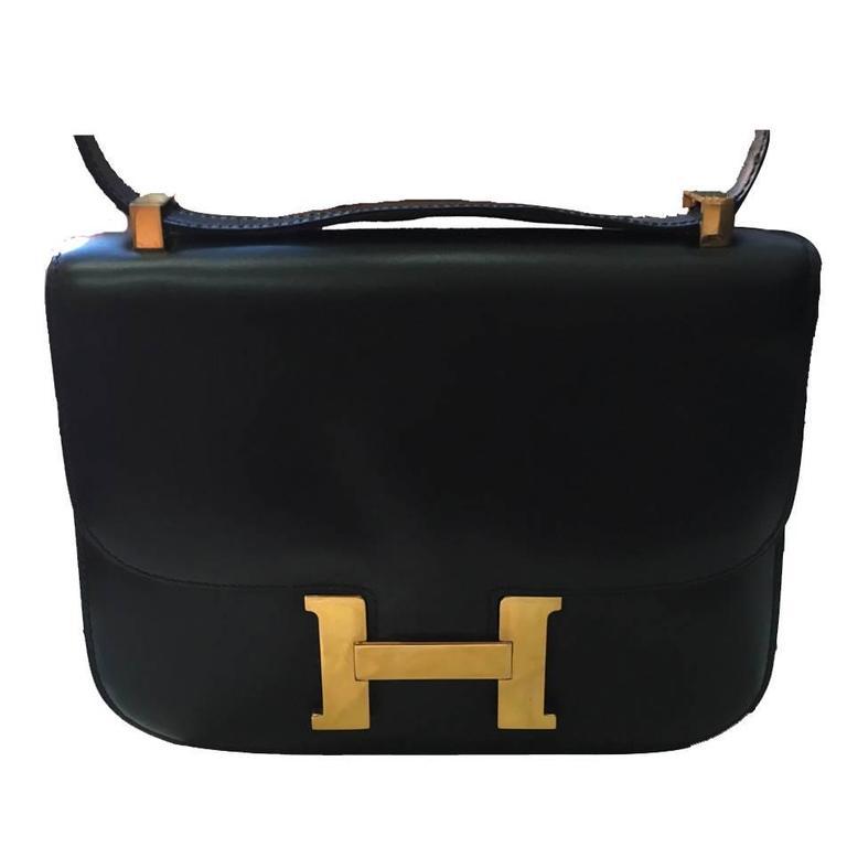 Hermes Vintage Black Leather Constance Shoulder Bag  1